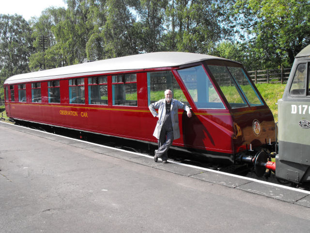 The Beavertail at the start of its journey to the NRM's Railfest 2012 event. The gentleman seen by the vehicle is Nev Goodman, who has project managed the latest overhaul of the coach.