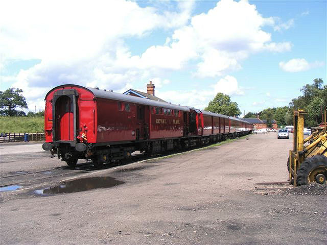 RVP's rake of TPO coaches stand in Quorn yard on 30th June 2012 being prepared for the Mail by Rail gala.