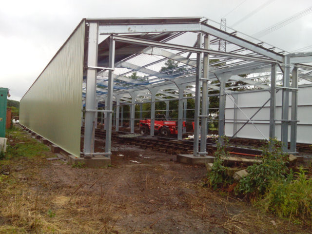 View from the south end of the shed as the cladding starts to go on.