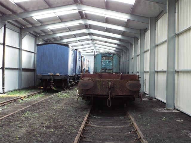 The first of RVP's vehicles have now moved into the shed at Swithland, with the two box vans and LNER BTK 62565 on the left, along with a couple of non RVP vehicles on the right hand side.