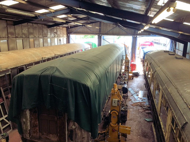 A sight that you don t get to see very often, three Gresley designed coaches side by side in Rothley works at the same time all being worked upon.