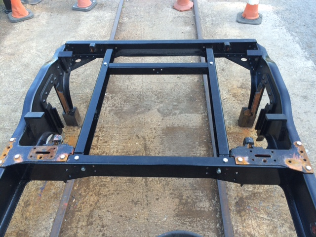 New cross members have been manufactured for the bogie from LNER TTO 23981 that had severe corrosion, here they are seen temporarily installed to ensure that they fit correctly.