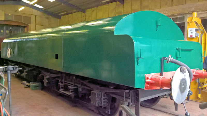 The diesel brake tender, B964122, at the end of 18th March 2017 when the first coat of green paint had been applied.