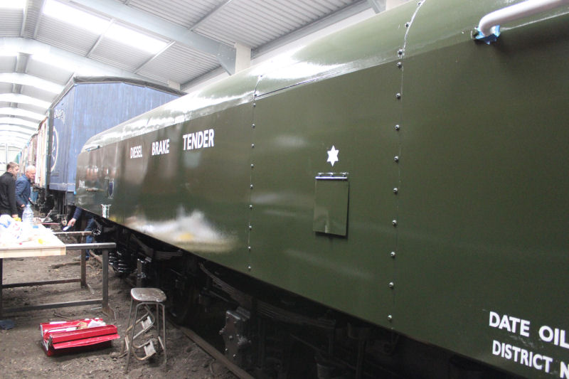 The diesel brake tender having the sign-writing applied.