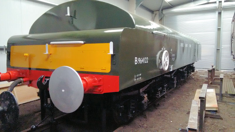 The Diesel Brake Tender freshly painted and ready to enter traffic.