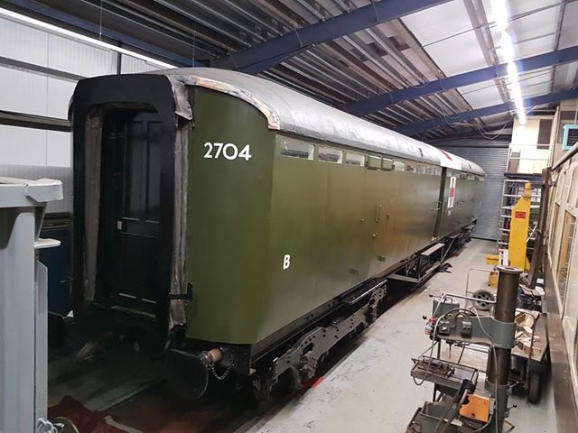 The ambulance coach has progressed in recent times, as can be seen in this picture from Matt Baker after he had completed the sign writing. Note that the carriage number is now 2704, as carried during its wartime service.